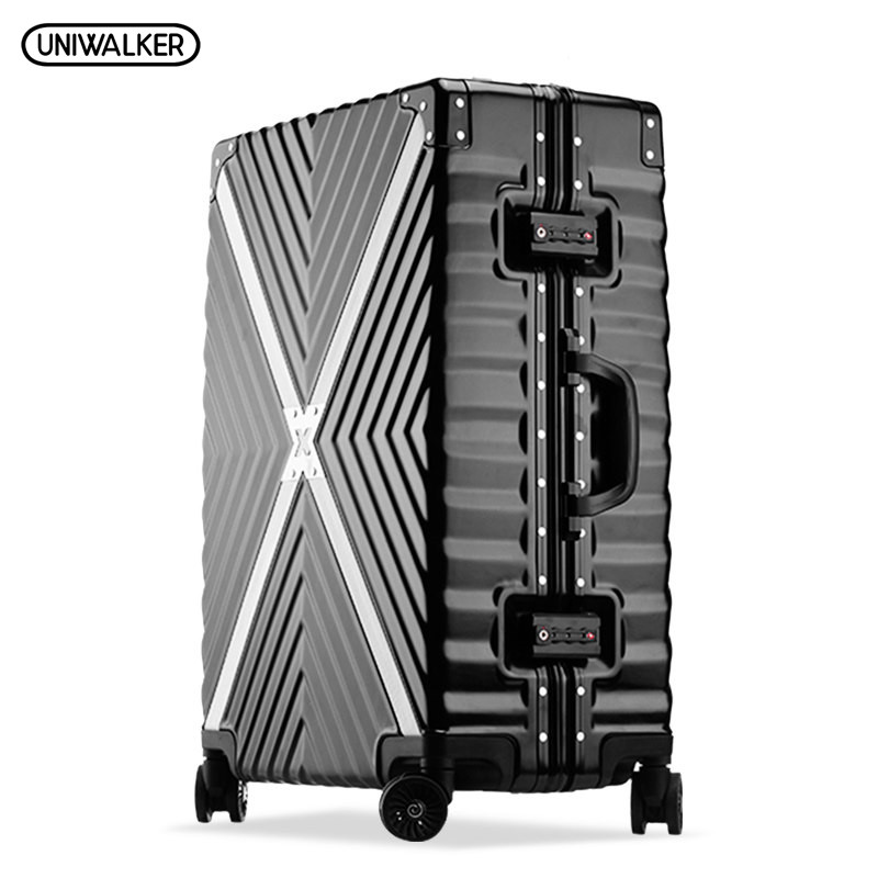 UNIWALKER ABS+PC Cross Twill Rolling Luggage 20242629 Hardside Trolley Travel Traveling Suitcase Aluminum Frame Carry On uniwalker 2022 24 26 drawbars