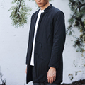 Mens Casual Long Coat Parkas Jacket 100% Cotton Chinese Japan Style Zen Kung Fu Tai Chi Clothes Nakali M1103