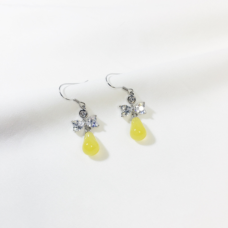 Sterling silver 925 CZ crystal bowknot with yellow Beeswax drop earrings for women fashion jewelry 2019 new arrivals Brincos in Drop Earrings from Jewelry Accessories