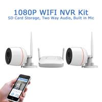 1080P 2MP Wireless Security Camera System Two Way Audio CCTV Surveillance Kit 2CH mini Wifi NVR Camera Kit Home Security Kit