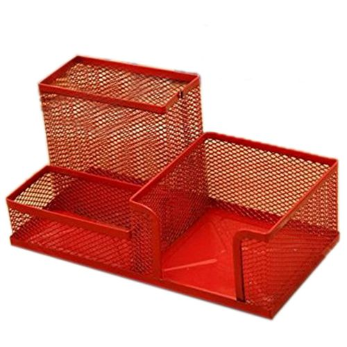 Affordable Circular Metal Pen Container Desktop Accessories Stationary Red Desk Organizer Mesh Cube Combination Holder In Holders From Office