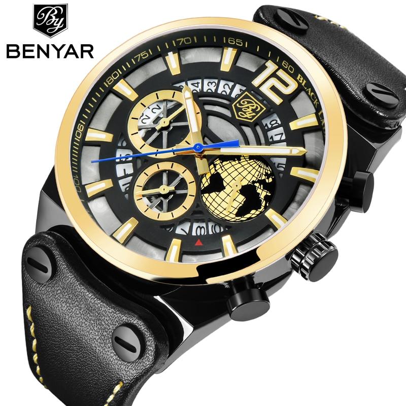 купить BENYAR Luxury Brand Watch Mens Fashion Waterproof Gold Chronograph Sport Quartz Wrist Watch Leather Clock Men Relogio Masculino по цене 2288.12 рублей