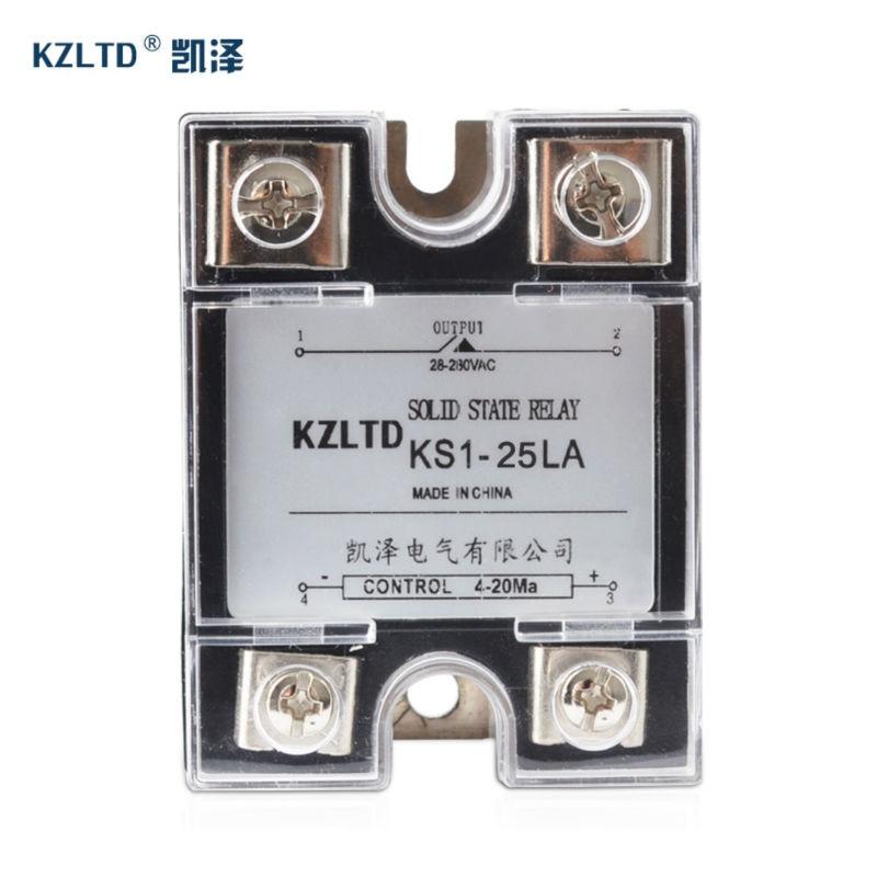 SSR-25LA 4-20MA à AC Relais Sortie 28 ~ 280 V AC 1 Phase Solide état Relais 25A w/Boîtier En Plastique perti 220 v 25a relais KS1-25LA