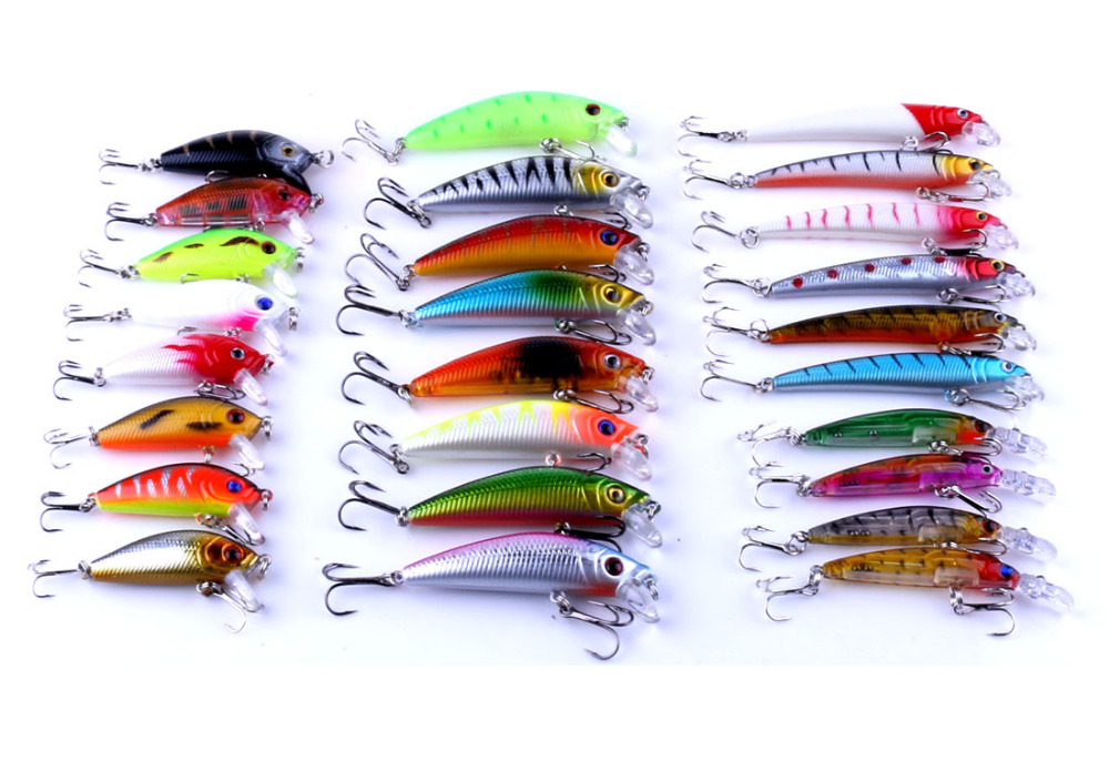 Lot 43pcs Mixed Fishing lures Tackle Minnow Crankbaits Bass Bream Baits Wobbler