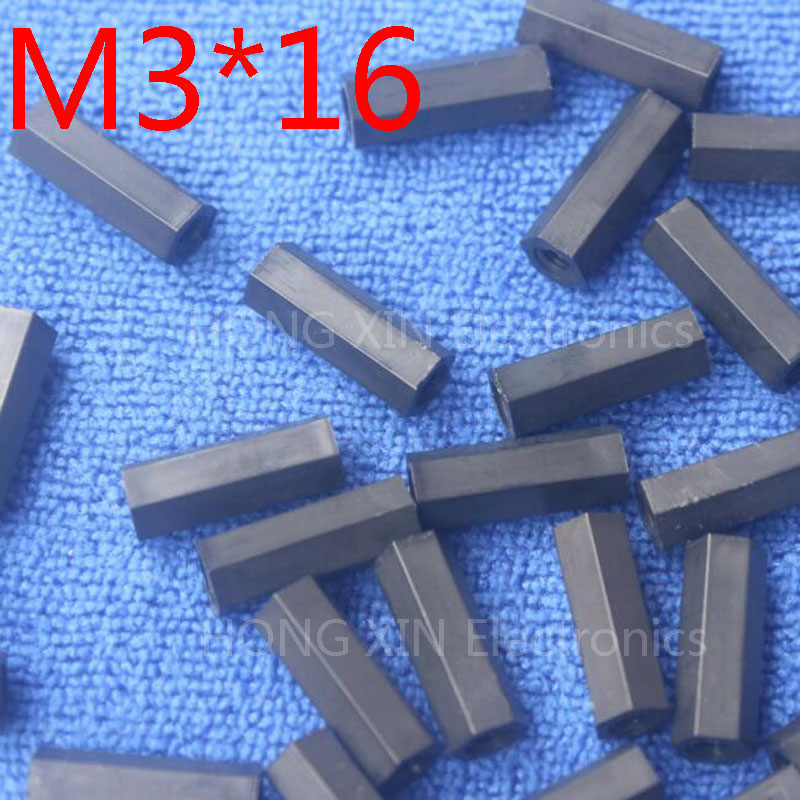 M3*16 Black 100pcs Nylon 16mm Hex Female-Female Standoff Spacer Threaded Hexagonal Spacer Plastic Standoff Spacer High-quality