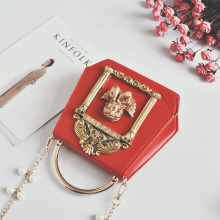 Metal Tote Bag Baroque Angel Women Small Handbags Luxury PU leather Shoulder Bags Vintage Chains Messenger Bag Ladies Sac A Main