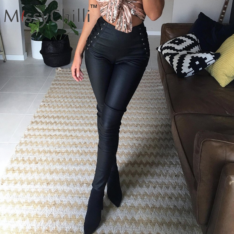 MissyChill PU leather black   pants   female Elastic lace up skinny   pants     capris   Sexy high waist trousers women   pants   winter bottoms