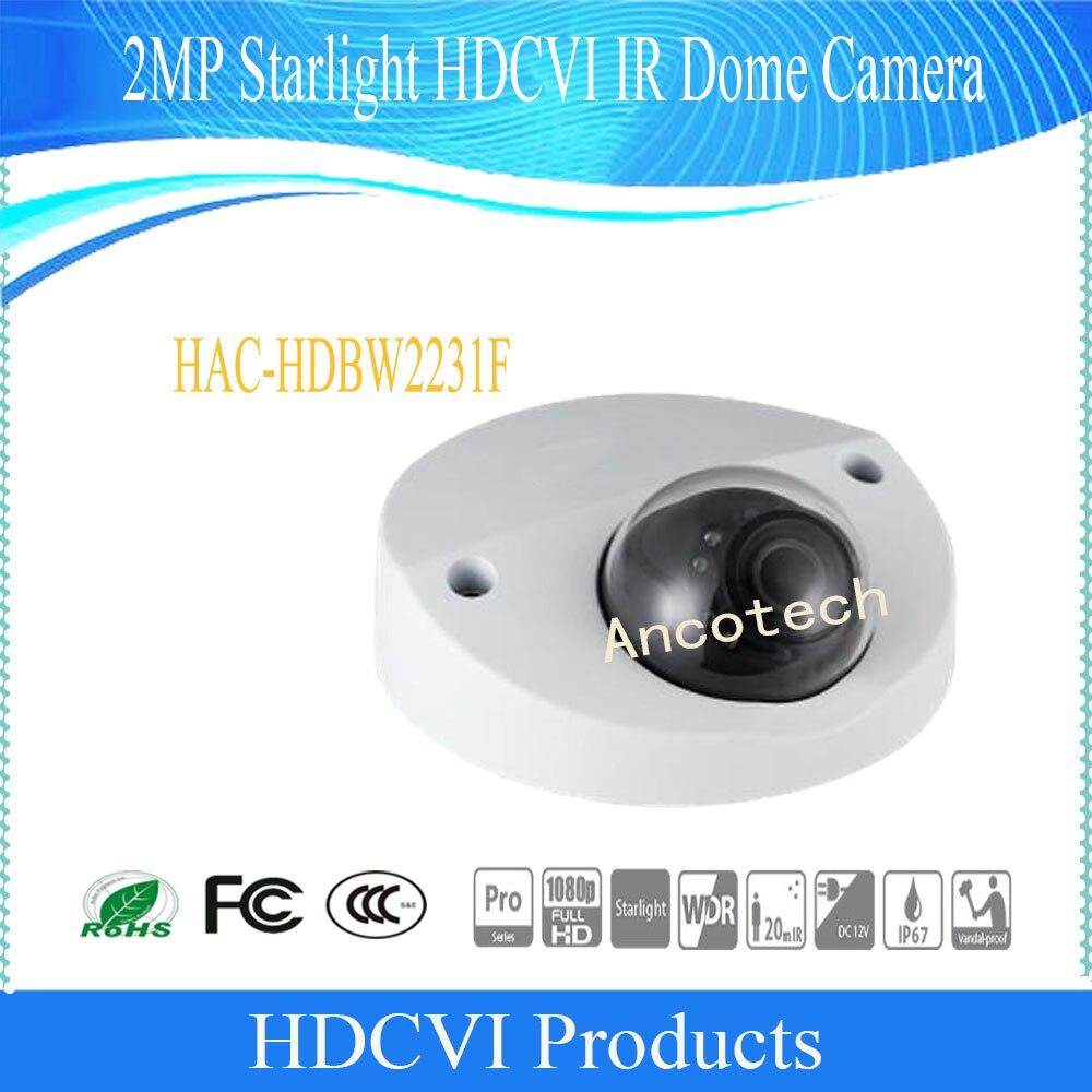 Free Shipping DAHUA 2MP Starlight HDCVI IR Dome Camera IP67 IK10 without Logo HAC-HDBW2231F hkes wholesale 8pcs lot free shipping indoor ir dome ip camera with microphone