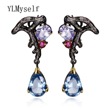 New Branch trendy jewelry Blue teardrop Multi Color Crystal High Quality Black/Gold-color Fantastic Drop Earrings for women