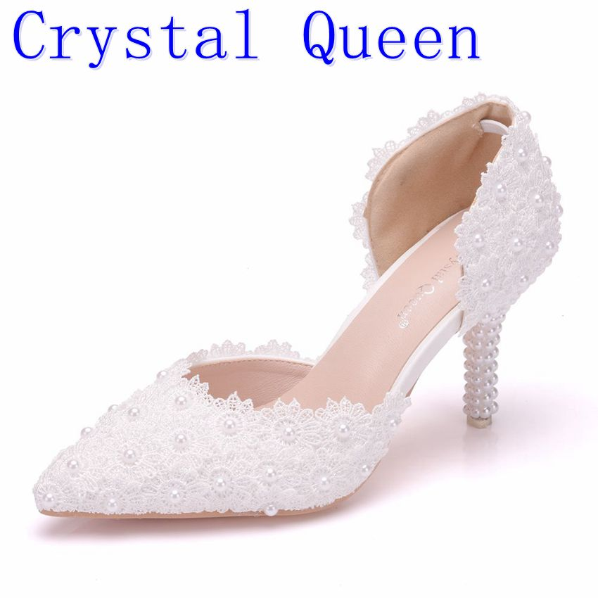Crystal Queen Women Pearl White Lace Wedding Shoes with Fine Pointed Bride Dress Shoes with High 7cm Two Type Women's Shoe Pumps shoes blue lace flower bride white pearl diamond wedding shoes pointed high heeled sandals dress shoes bag set pink shoes set