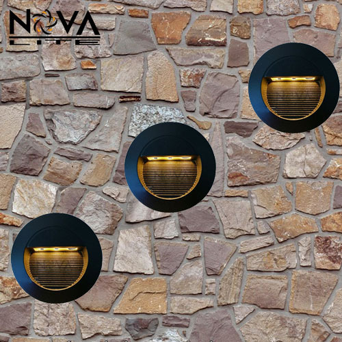 3W Outdoor Recessed LED Wall Lamp, Round Exterior LED Step Light With  Built In