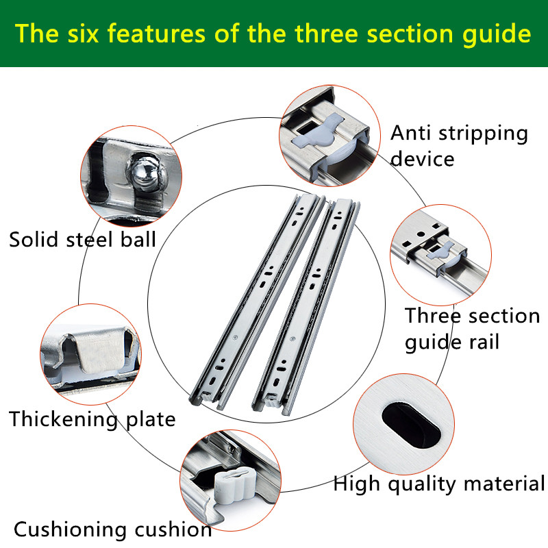2 Pairs 22 inches 55cm Stainless Steel Three Sections Furniture Slide Guide Rail Accessories Drawer Track Slide for Hardware