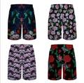 Men 3D print Rose Floral Flower short pants summer  grid   shorts Boardshorts  board shorts plus size