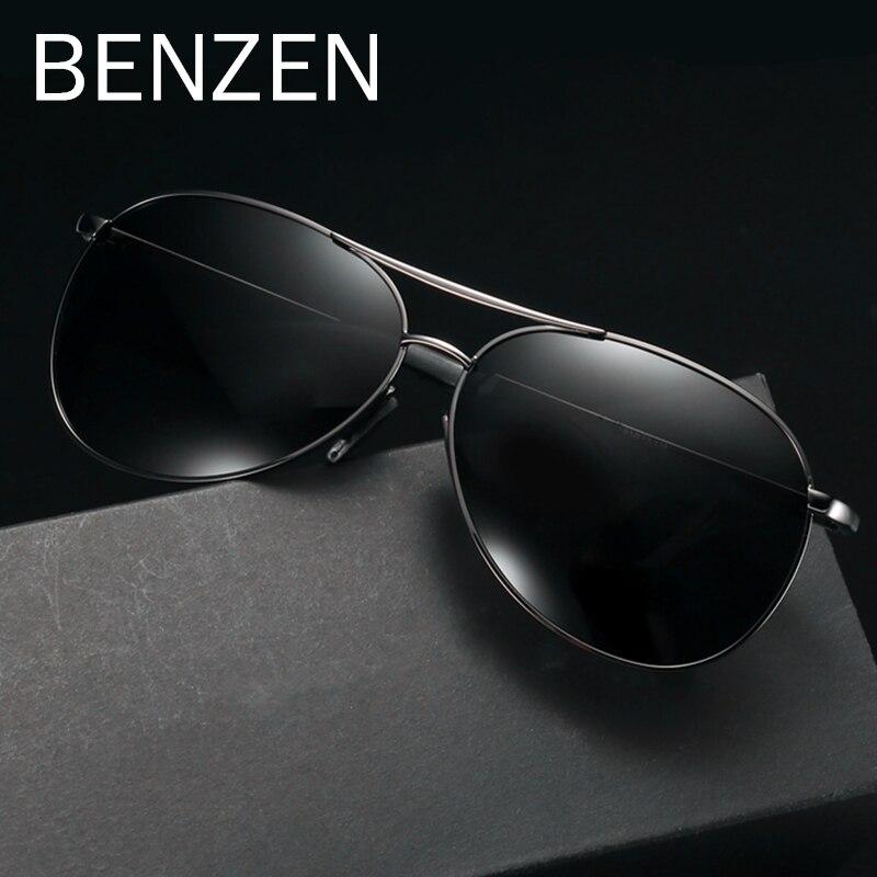 BENZÈNE Pilote lunettes de Soleil Hommes Vintage lunettes de soleil polarisées Hommes lunettes de conduite Classique Shades New Noir Avec Le Cas 9295