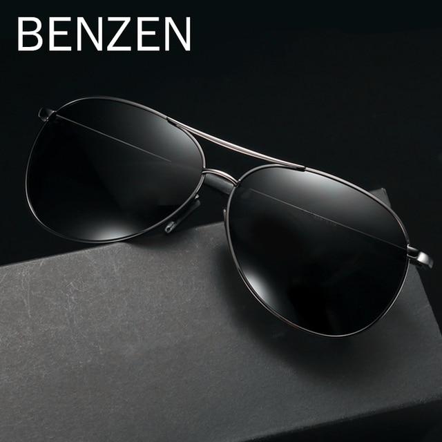 6da98a6f6e BENZÈNE Pilote lunettes de Soleil Hommes Vintage lunettes de soleil  polarisées Hommes lunettes de conduite Classique