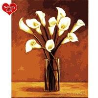 Rahmen DIY Bilder Wandkunst Malerei Durch Zahlen Handgemalte Digitale Ölgemälde Auf Leinwand Hochzeit Dekoration Blume Calla