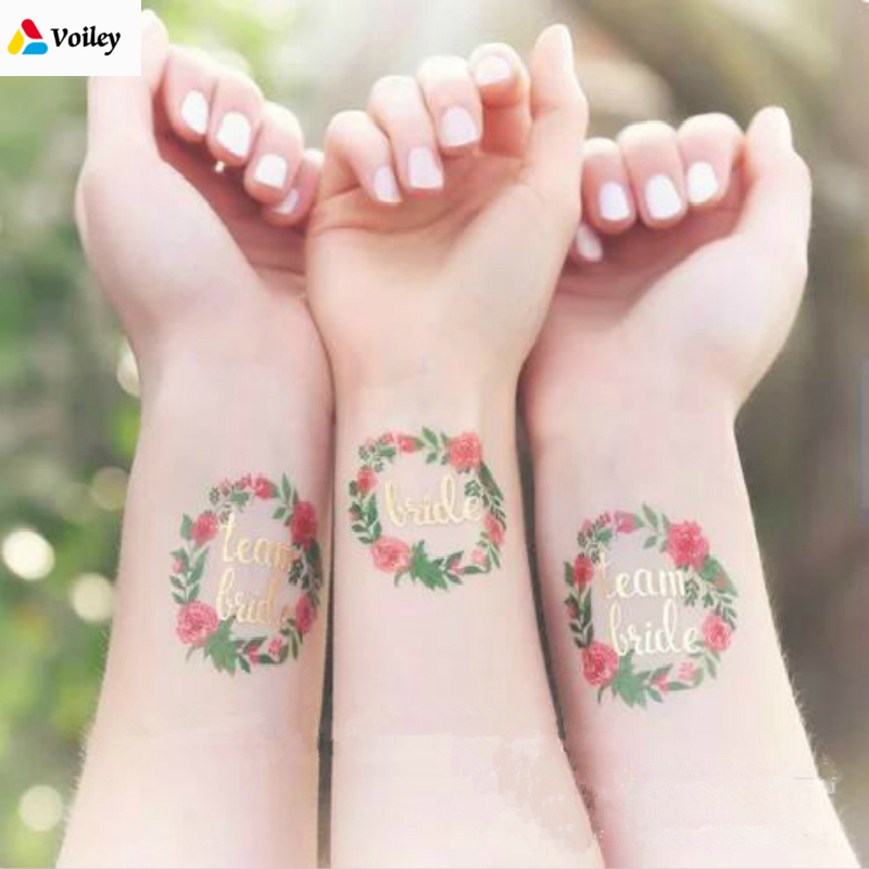 Bridal Shower 5 Pcs/lot Team Bride To Be Tattoo Stickers Bride Hen Bachelorette Party Decor Wedding Party Christmas Decoration,5