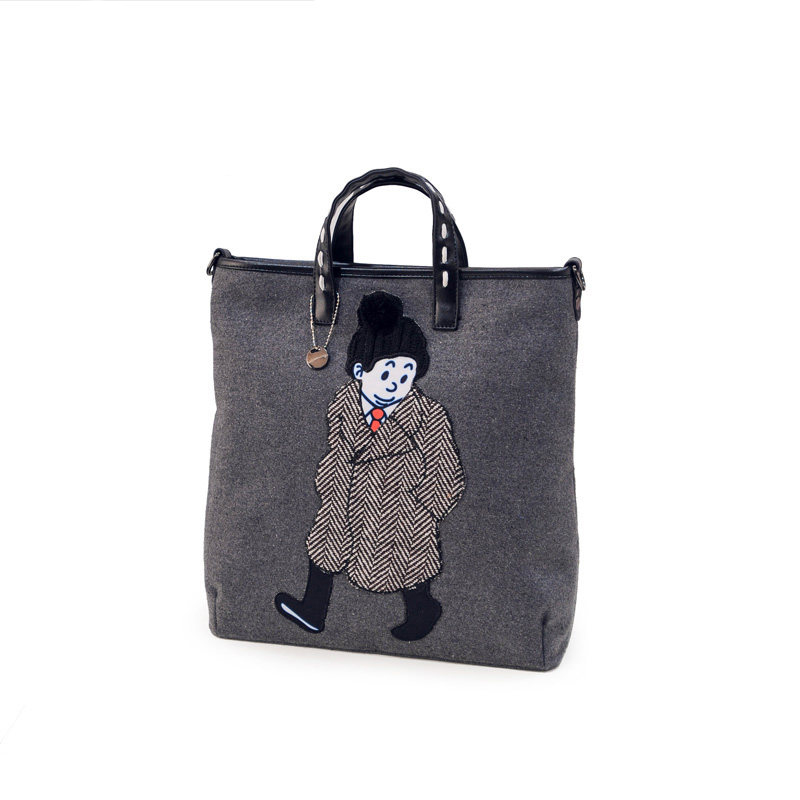 Cartoon Printing Canvas Tote Bag Women Casual Large Hand Bag Figure Printing Shoulder Bag Fashion Simple
