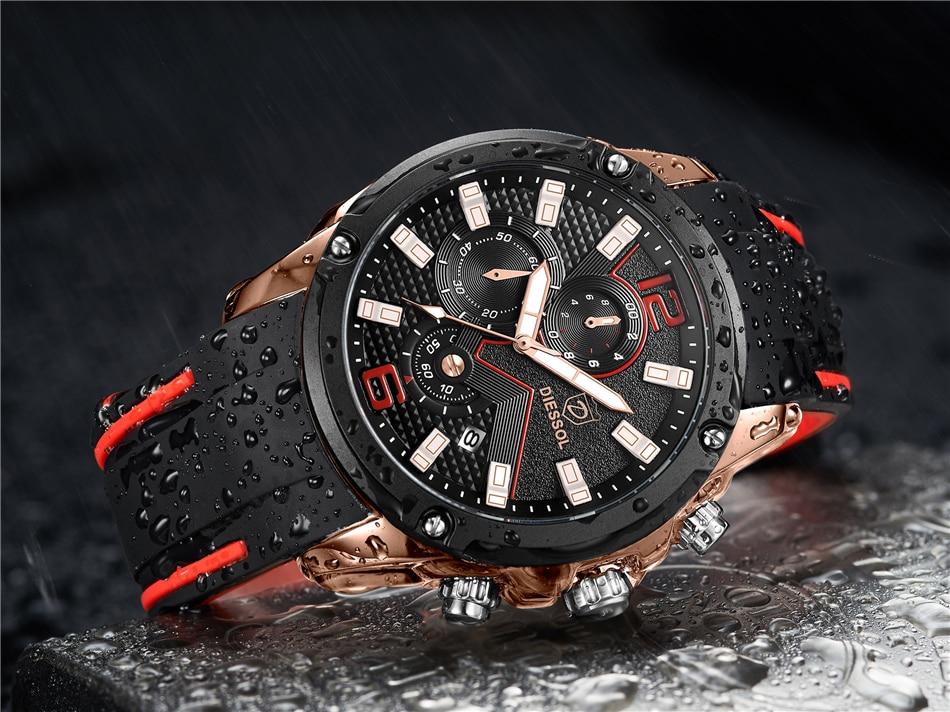 DIESSOL Men's Fashion Sports Quartz Watch Mens Watches Top Brand Luxury Rubber Band Waterproof Business Watch Relogio Masculino 21
