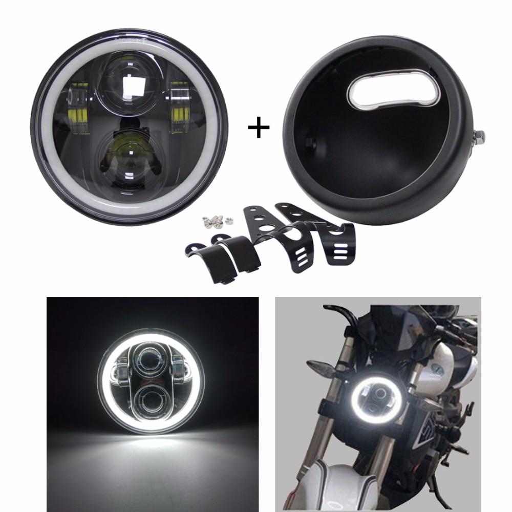 5.75/'/' 5 3//4/'/' Headlight Lamp Trim Ring Cut For Harley Sportster XL883 1200