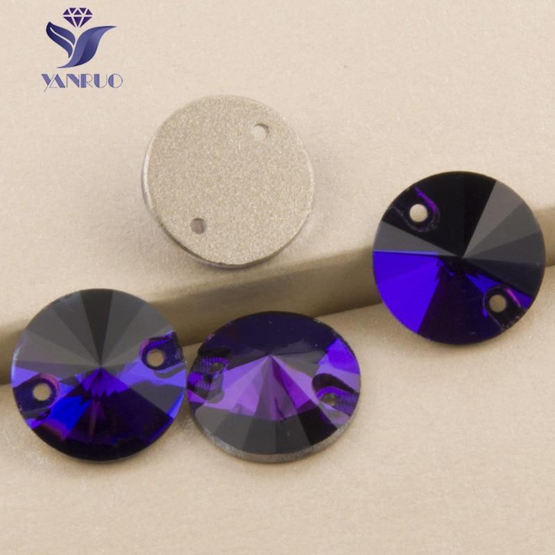 3b24853679 US $11.89 10% OFF YANRUO 3200 Rivoli Purple Velvet Sew On Crystal Flat Back  Rhinestones Glass Stones Sewing Craft Rhinestone For Clothes-in ...