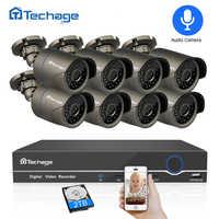Techage 8CH 1080P HDMI POE NVR Kit CCTV Security System 2MP IR Outdoor Audio Record IP Camera P2P Video Surveillance Set 2TB HDD