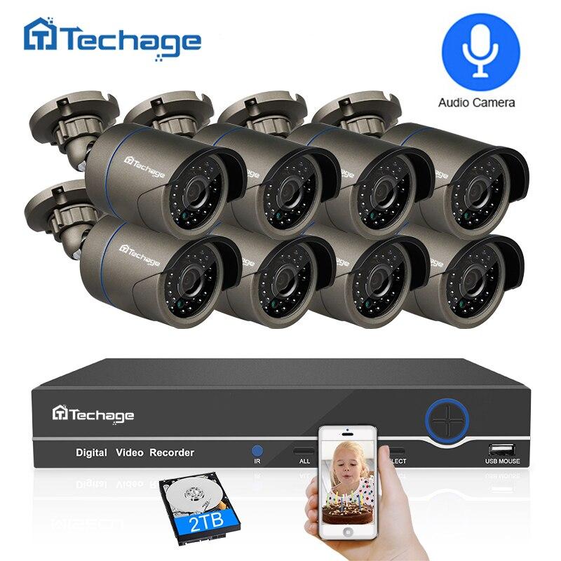 Techage 8CH 1080 P HDMI POE NVR Kit CCTV Système de Sécurité 2MP IR Extérieure Audio Caméra IP Record P2P Vidéo ensemble de Surveillance 2 TO HDD