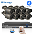 Techage 8CH 1080 P HDMI POE NVR Kit de sistema de seguridad CCTV 2MP IR al aire libre registro de Audio cámara IP P2P Video juego de vigilancia 2 TB HDD
