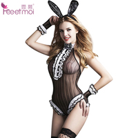 Feeetmoi Bunny Girl Transparent Teddy Lingerie Open Crotch Lace Sequins Bow Sexy Bodysuit Lingerie Women Erotic