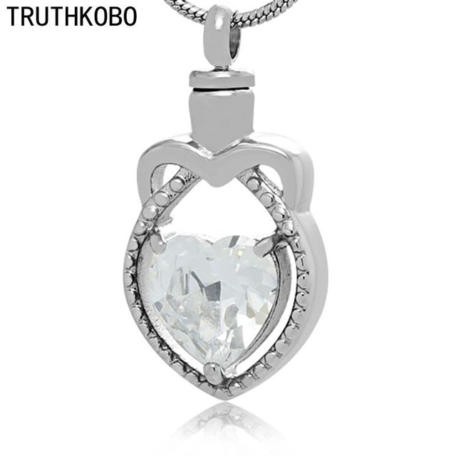 New Arrival Heart-shape Crystal Cremation Jewelry Pendant Urn Body Necklace