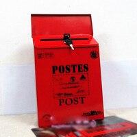 European Vintage Luxury Iron Mail Mail Box Bucket Tin Newspaper Letter Metal Waterproof Mailbox Lockable Free
