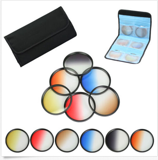 72mm 6pcs Graduated Grey+blue+green+purple+yellow+red Color ND Neutral Density Filter Kit case For canon 18-200 nikon nisi 82mm soft grey graduated filter for nikon canon sony more black grey