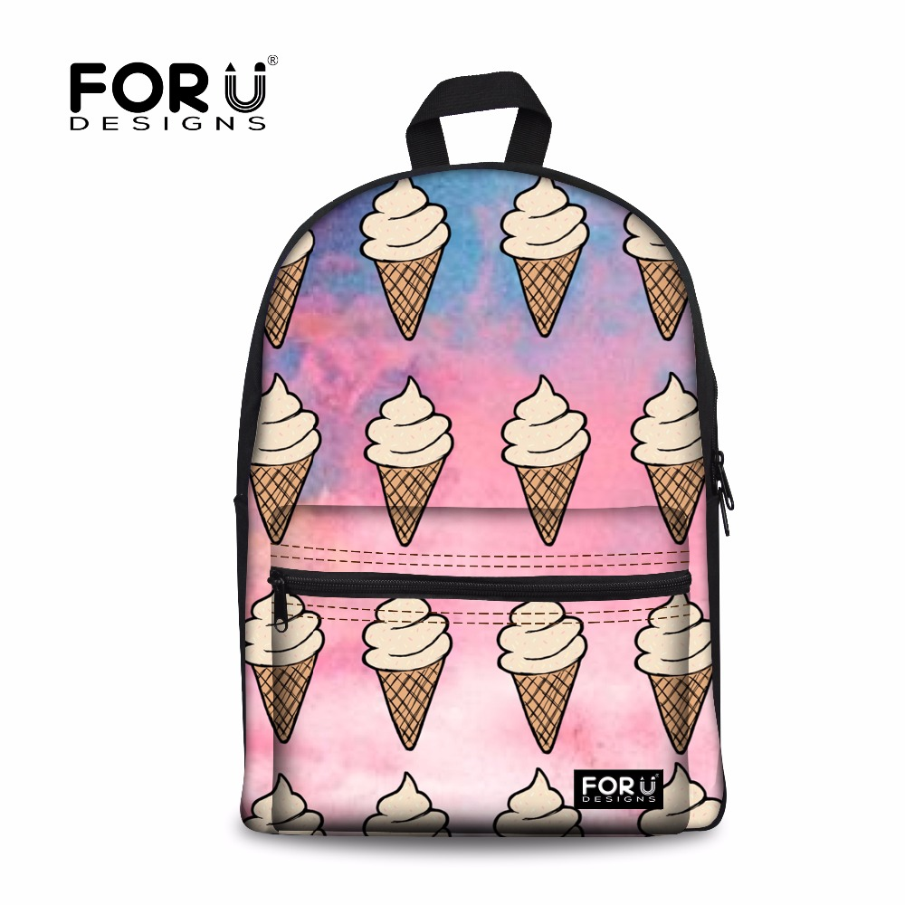 FORUDESIGNS Korea Fashion Women Backpacks 3D Tumblr ice cream Printing Children Backpacks Cute Canvas Teenager Girls School Bags forudesigns tumblr ice cream printed girls school backpack casual women canvas backpack for teenager rucksack mochila escolar