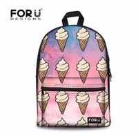 FORUDESIGNS Korea Kobiety Moda Tumblr lody Drukowanie Dzieci Plecaki Plecaki 3D Śliczne Płótno Nastolatek Dziewczyny Torby Szkolne