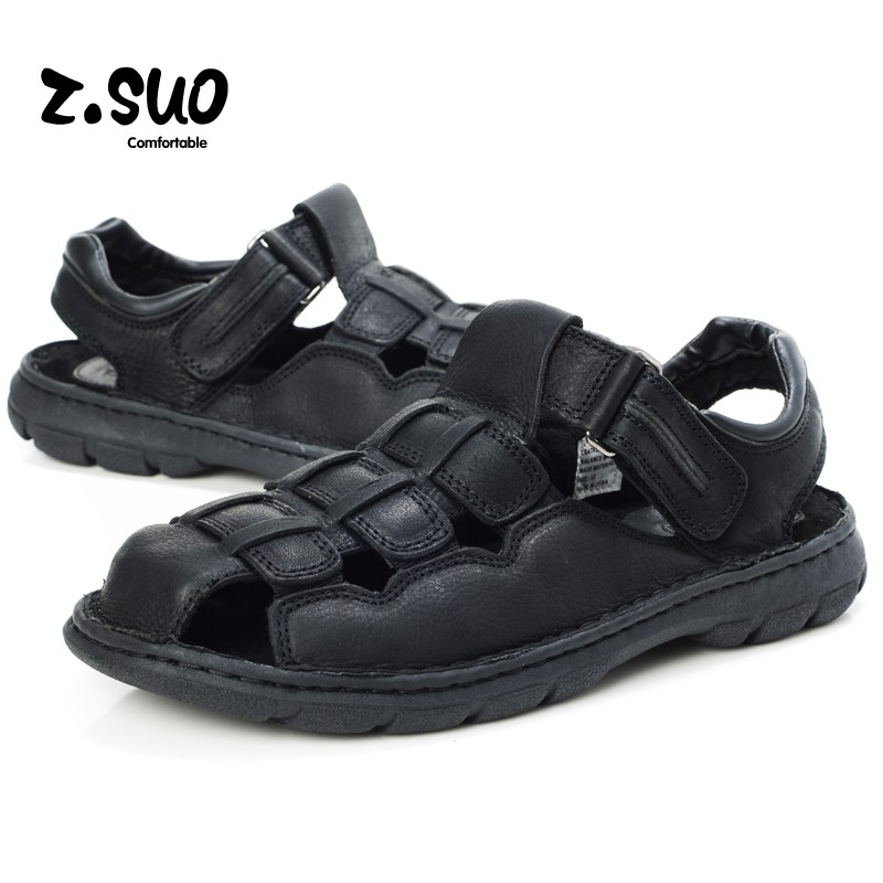 Z. Suo Men Sandals Genuine Leather Fashion Summer Shoes Men Slippers Big Size Mens Outdoor Sandals New Soft Leather