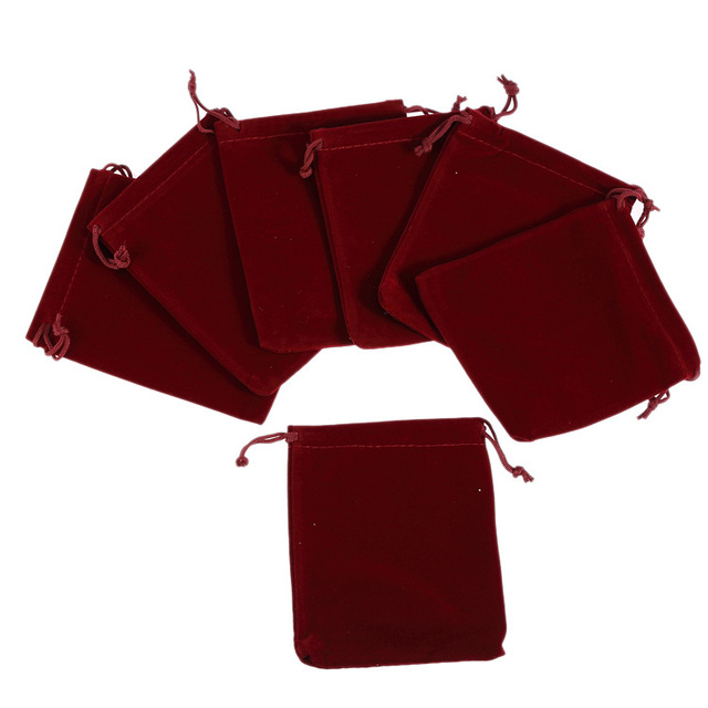 50pcs Fine Velvet Gift Bags Wedding Jewelry Pouches wine  9*12cm