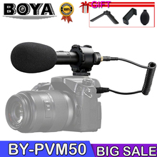 BOYA BY-PVM50 Professional 3.5mm Stereo X/Y condenser Microphone for DSLR Camera Camcorder Audio Recorder Mic + Foam Windshield boya by whm8 omindirectional condenser handheld microphone uhf wireless transmitter for by wm6r by wm8r dslr camera dv camcorder