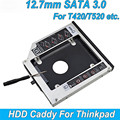 "Aluminum 2nd HDD Caddy 12.7mm 2.5"" SATA 3.0 SSD Case HDD Enclosure For IBM Lenovo ThinkPad T420 T430 T510 T520 T530 Optibay"