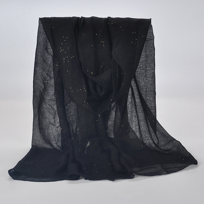 20 Color 2019 New Winter Women Black Navy Solid Color Muslim Hijab Shimmer Glitter Scarf Wrap Female 90cm*180cm