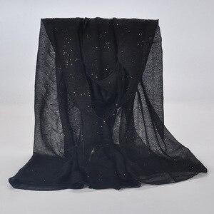 Image 1 - 20 kleur 2019 Nieuwe Winter Vrouwen Zwart Navy Effen Kleur Moslim Hijab Shimmer Glitter Sjaal Wrap Vrouwelijke 90cm * 180cm