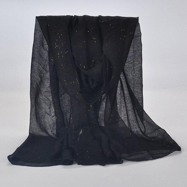 20 kleur 2019 Nieuwe Winter Vrouwen Zwart Navy Effen Kleur Moslim Hijab Shimmer Glitter Sjaal Wrap Vrouwelijke 90cm * 180cm