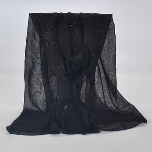 Image 1 - 20 kolor 2019 nowe zimowe kobiety czarny granatowy jednolity kolor muzułmański hidżab Shimmer Glitter szalik Wrap kobieta 90cm * 180cm