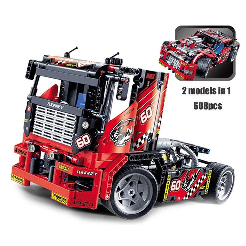 Voiture de camion de course modèle bloc de construction 2 en 1 Transformable voitures bricolage jouets compatibles avec Legoe Technic