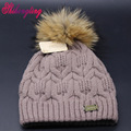 Thicken Wool Knitted Hats New Metal Mark Decoration Caps Warm Winter Lady Skullies Real Raccoon Fur Balls Hat Wholesale ZZM010
