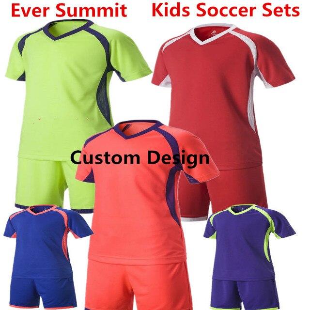 0391b4e66ebd Kids Soccer Jerseys Ever Summit S1610 Boys Football Training Sets AC Design  Customize DIY Create Team Uniforms 100% Cotton