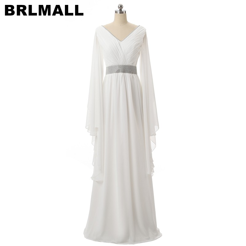 Brlmall Elegant White Long Sleeves Evening Dresses Plus Size Prom