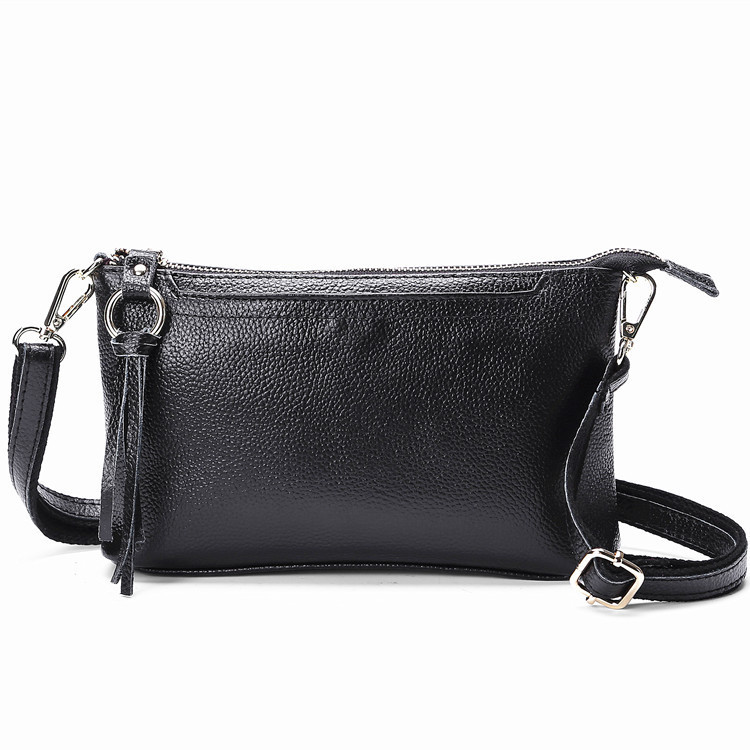 Women Casual Genuine Real Leather Shoulder Bag With Zipper Tassels Handbag Female Cross Body Bag Phone Bag Lady Party Flap Bag black blum ланч бокс box appetit 880 мл лайм 19х19х5 5 см ba001 black blum