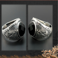 Real 925 Sterling Silver Rings with Natural Black Onyx Stone Round Shape Retro Punk Carved Thai Silver Party Jewelry Best Gifts