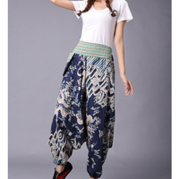 Original Folk Style Autumn Cotton Linen Print Wide Leg Pants Loose Casual Pants Harem Pants Haren