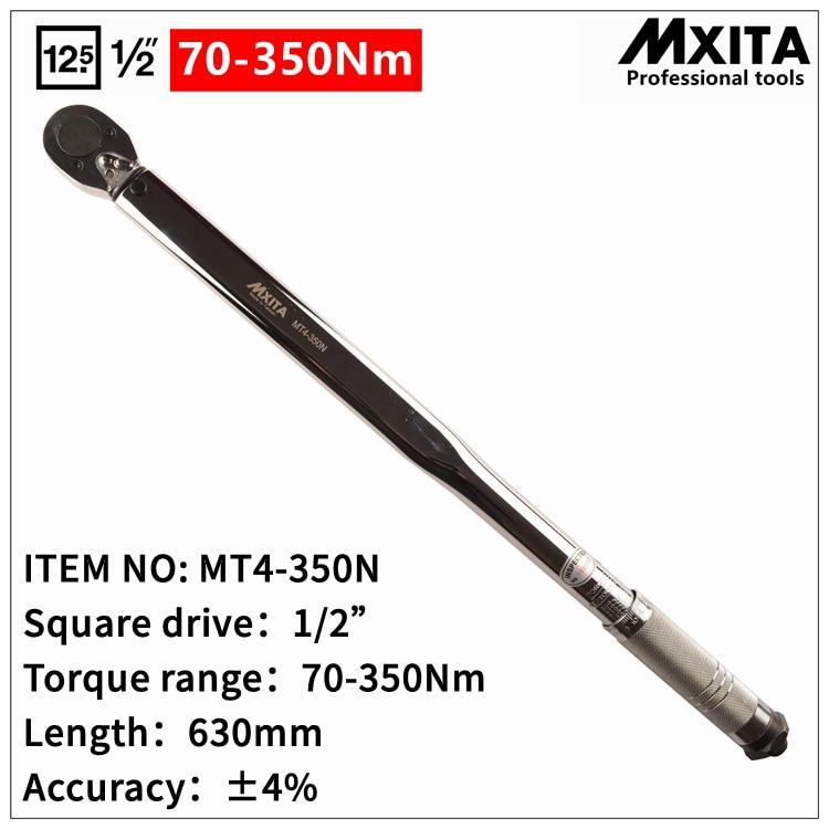 Mxita 1/2 70-350N Adjustable Professional Torque Wrench Bike Repair Tool Torque Spanner Tool mxita 1 2 28 210n professional torque wrench bike car repair tool torque spanner tool hand tool set